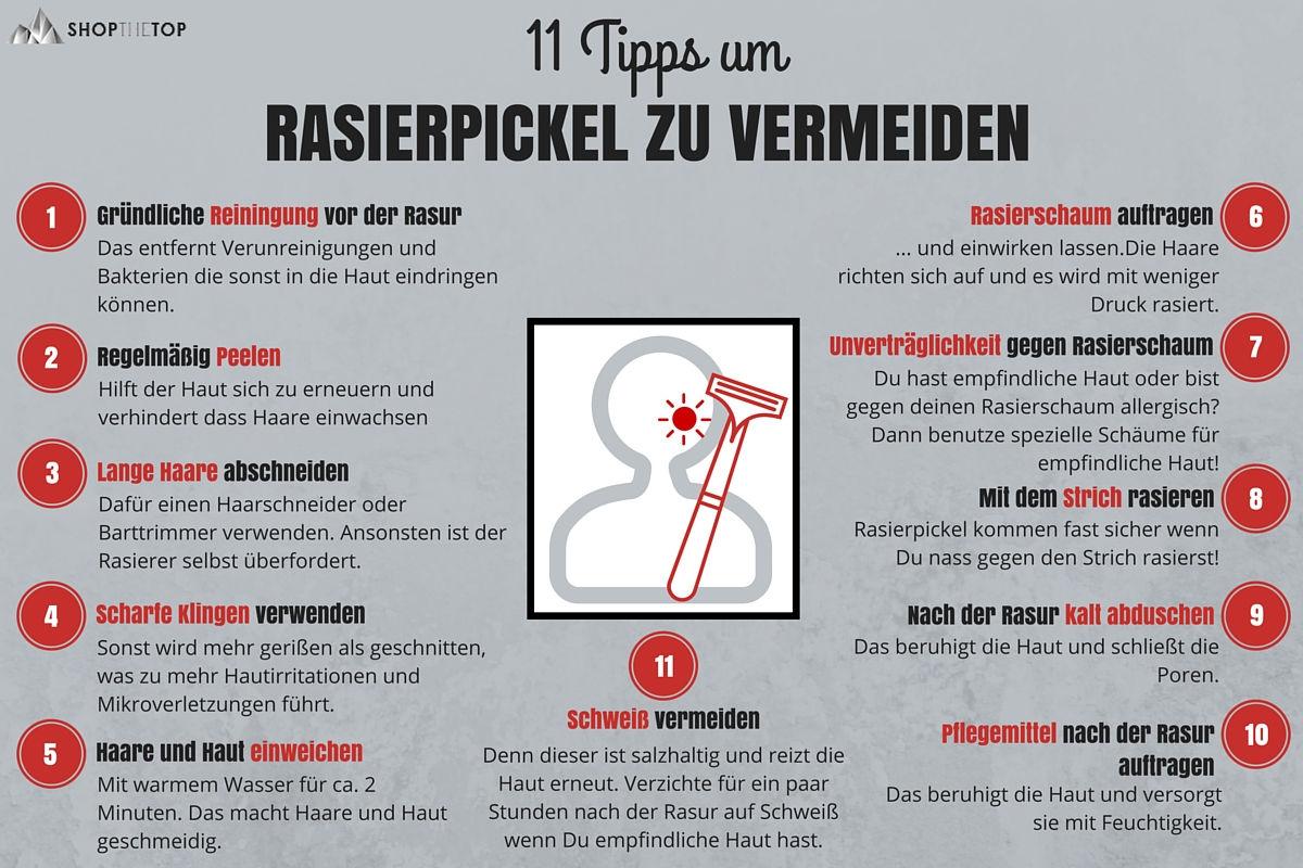 Rasierpickel vermeiden - Infografik mit 11 Tipps gegen Rasierpickel