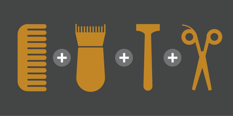 Kamm, Barttrimmer, Rasierer für Konturen und Bartschere