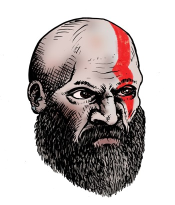 Kratos aus God of War 4 mit Vollbart